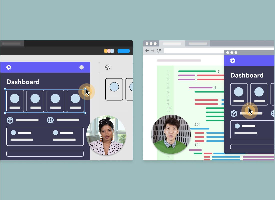 Two windows of a Figma file and GitHub repo with two colleagues in Loom bubbles explaining their design and code, respectively.