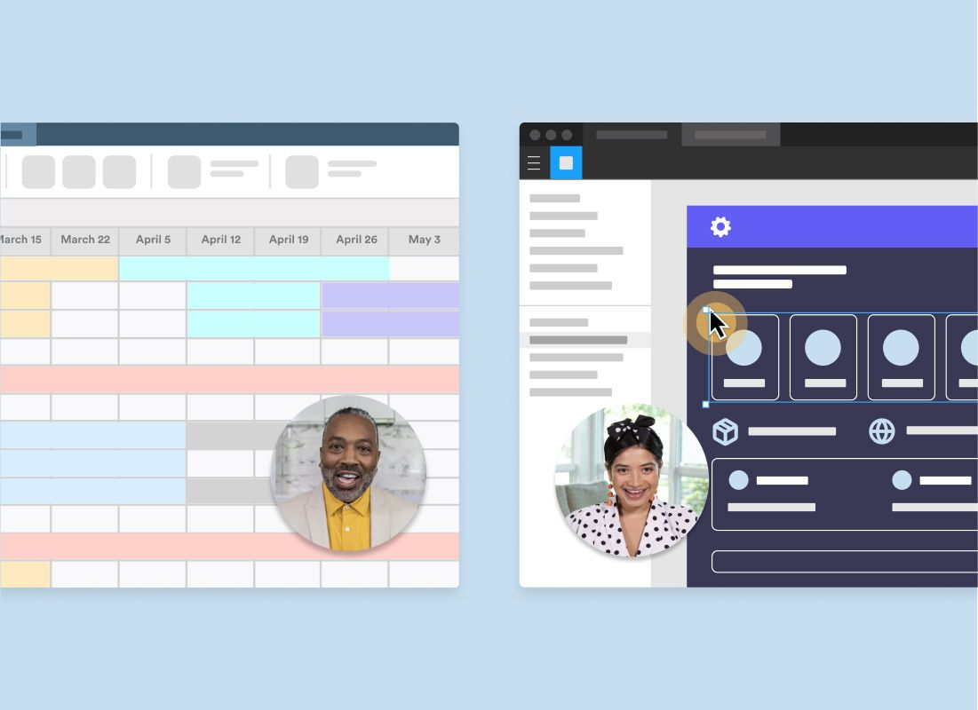 Two windows of a schedule and Figma window with two Loom bubbles of people explaining.