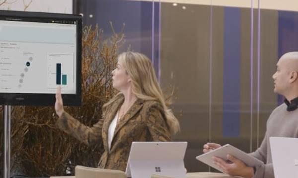 Virksomheds data vises og præsenteres med Power BI på skærmen