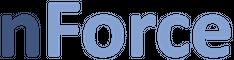 Firma navn i blå, på hvid baggrund