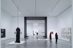 Installation View of David Geffen Wing gallery 206, Transfigurations, The Museum of Modern Art With view of Blackened Steel Portal