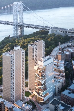 Aerial with view of Hudson River