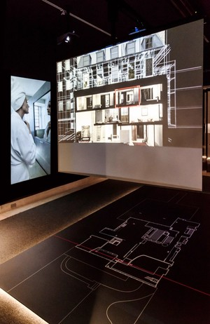 Video projection showing plan and section of Maison de Verre in addition to film vignettes of the house in use
