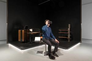 Furniture designed by Chareau contextualized with virtual reality headset