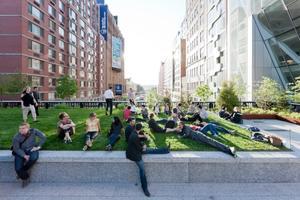 Sunbathers on 23rd Street Lawn