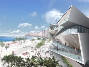 View of vertical boulevard along MIS's facade