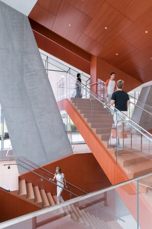 Lobby stairway connecting to auditorium and simulation center below