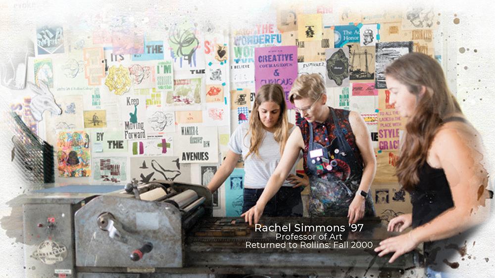 Rachel Simmons with students in her screen-printing studio.
