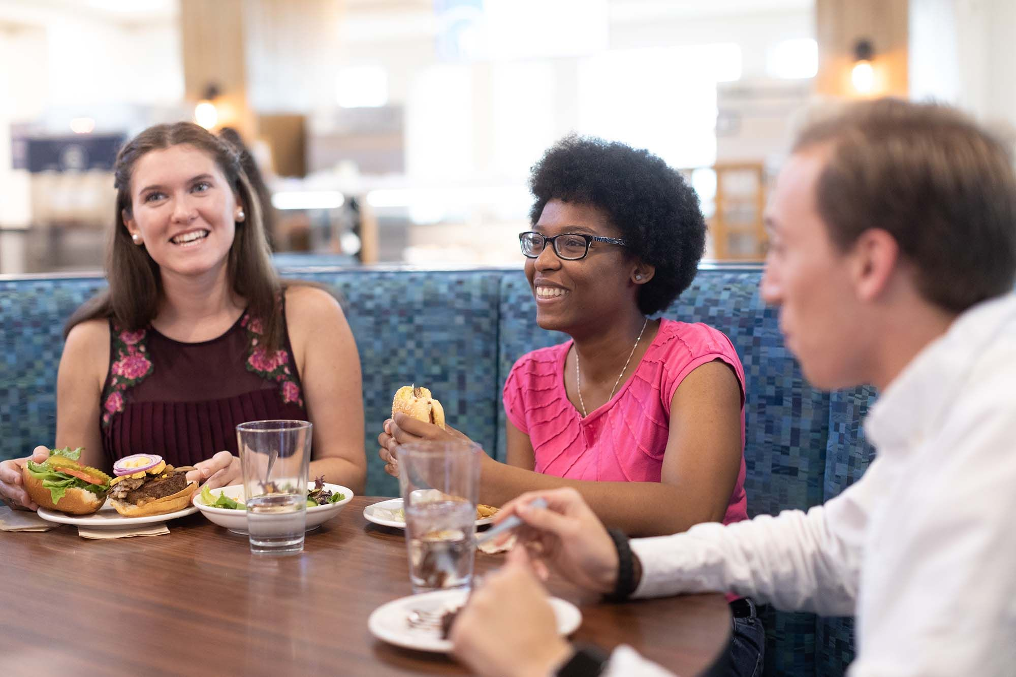 Students enjoy a meal in Skillman Dining Hall