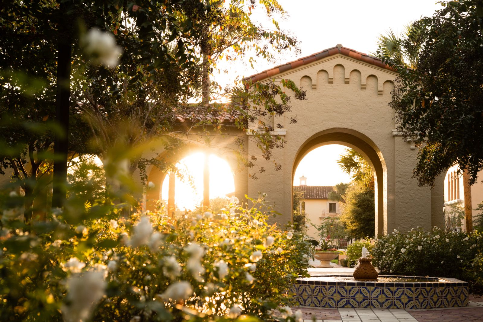 The sun shining through an archway on the Rollins campus.