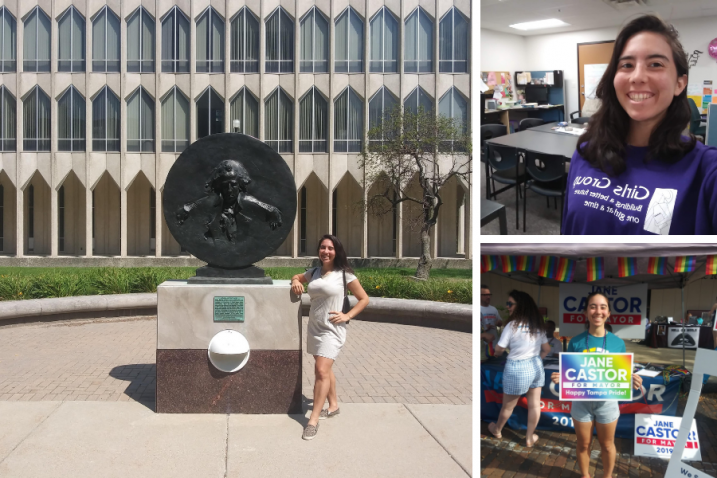 Collection of photos of Carla Daza at Girls Group and campaigning for Jane Castor.