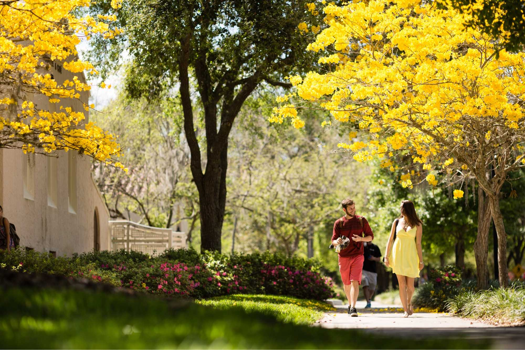 Two students walking through campus.