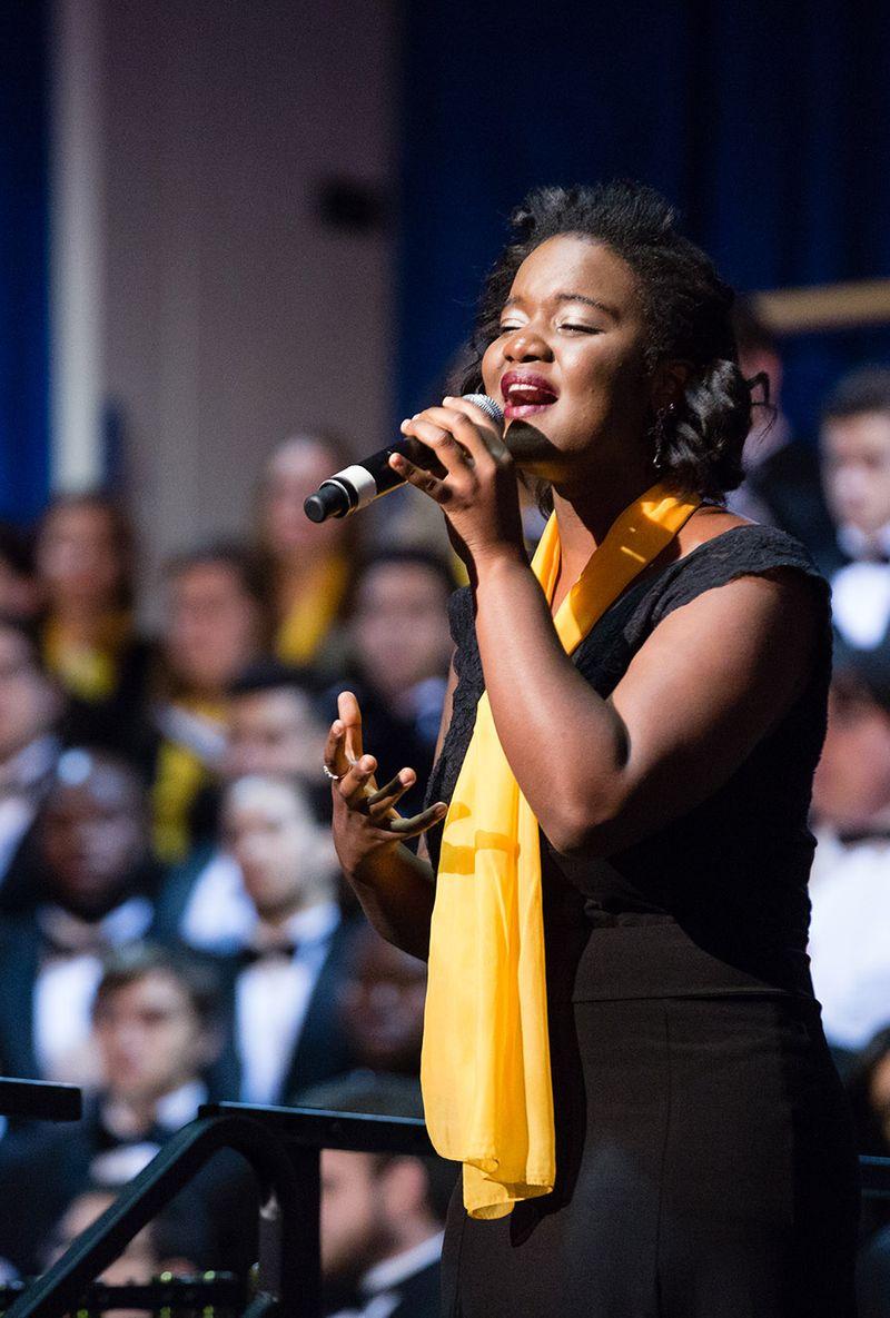 Elodie Germain '16 performs for an audience.