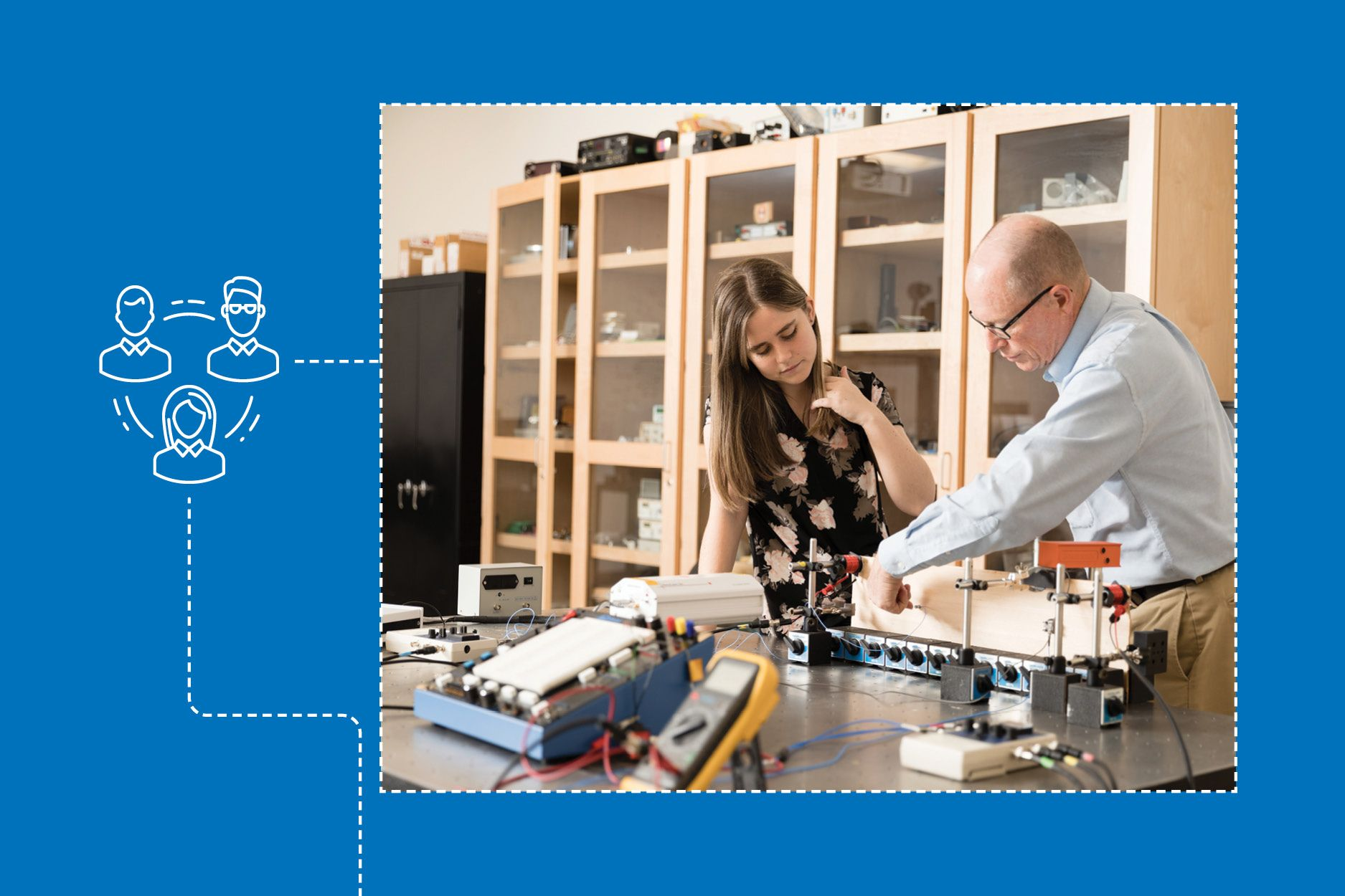 Lauren Neldner and physics professor Thom Moore conduct research in a physics lab.