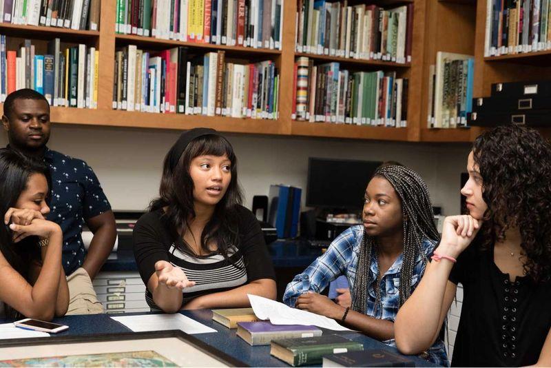 Students in a seminar in the Cornell Fine Arts Museum.