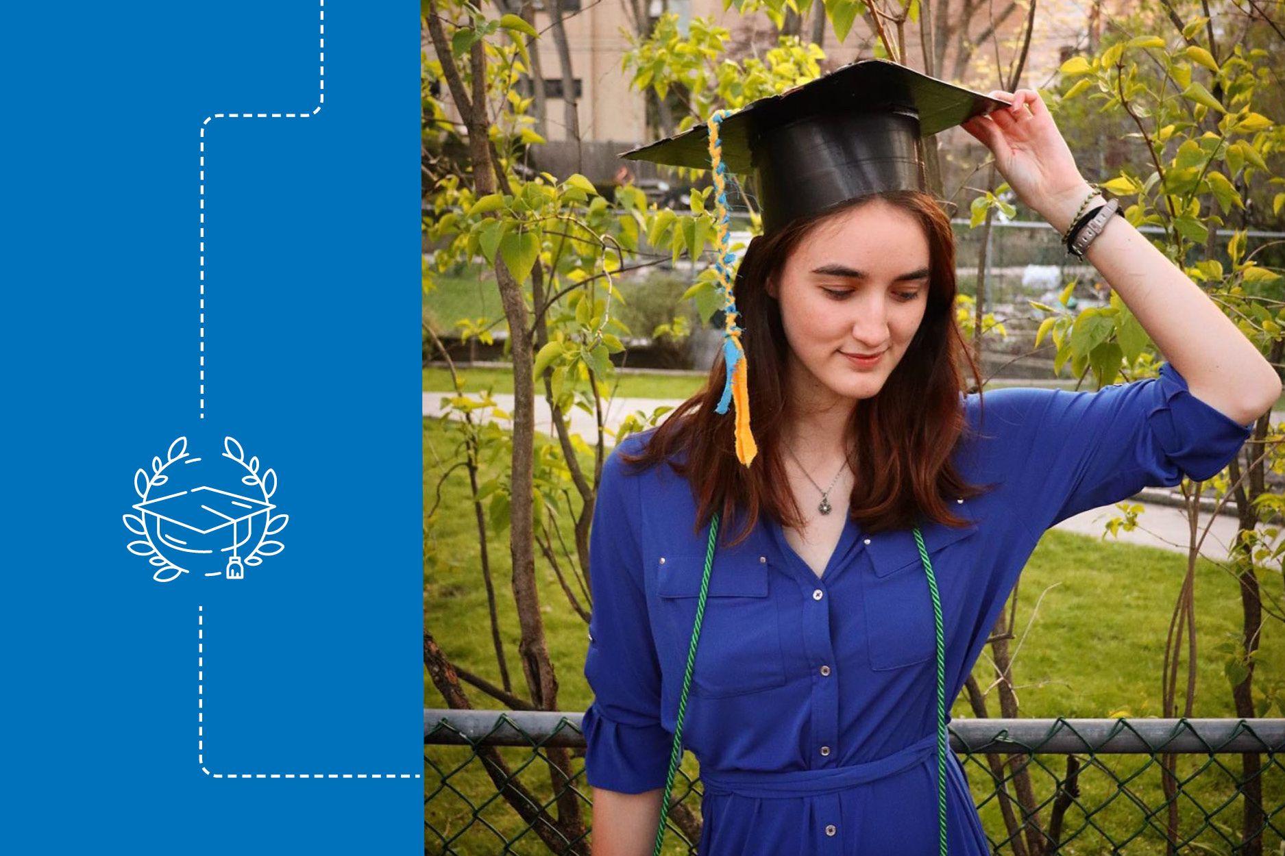 Shannon Sullivan in her graduation cap for a virtual graduation ceremony in 2020.