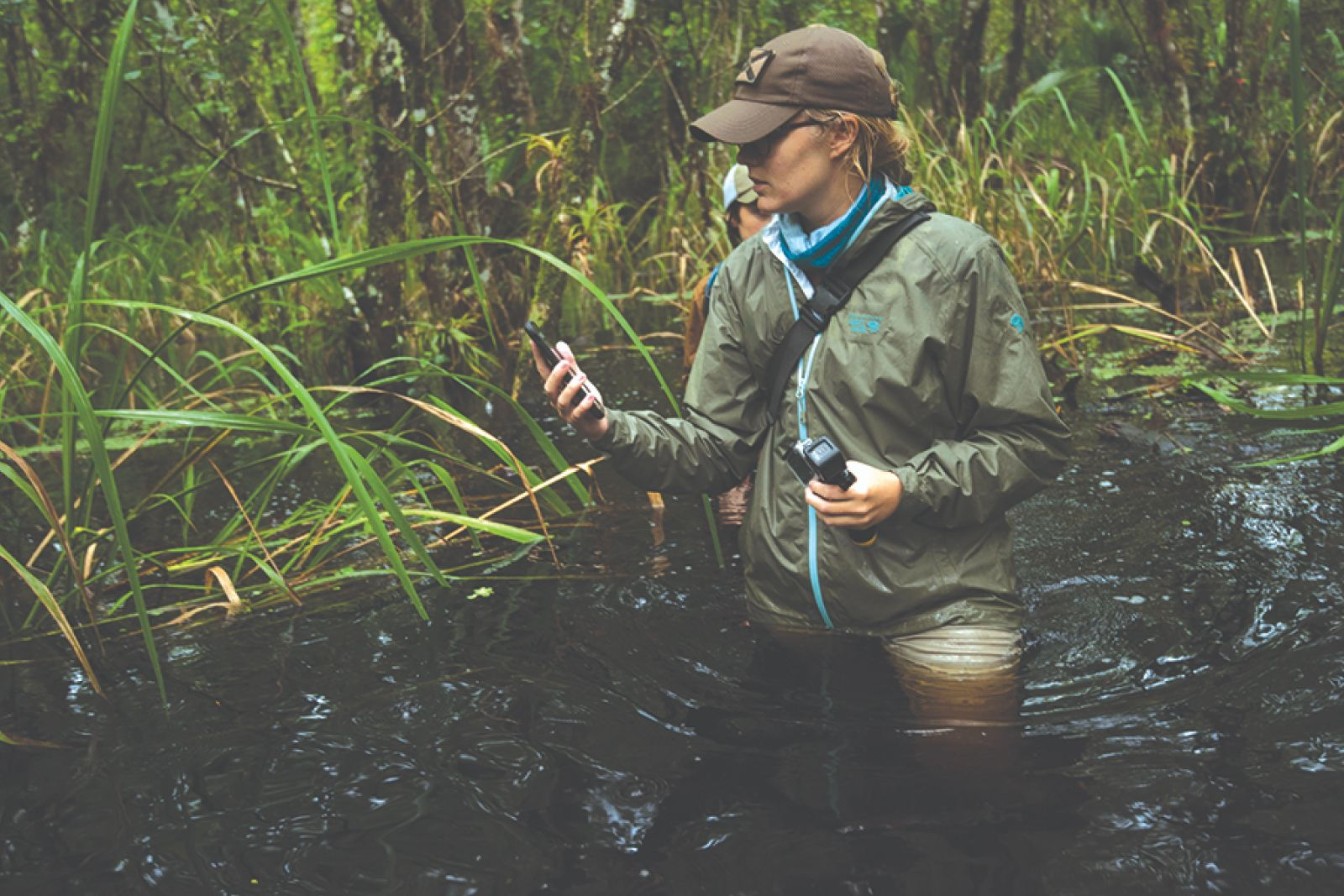 Tori Linder examines plants in the field.