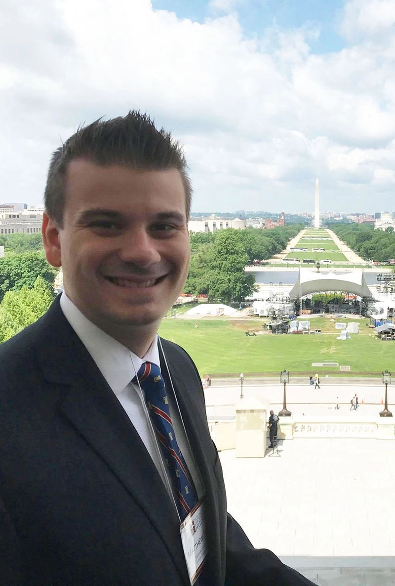 Matthew Hendry '15 on the steps of the U.S. Capitol.