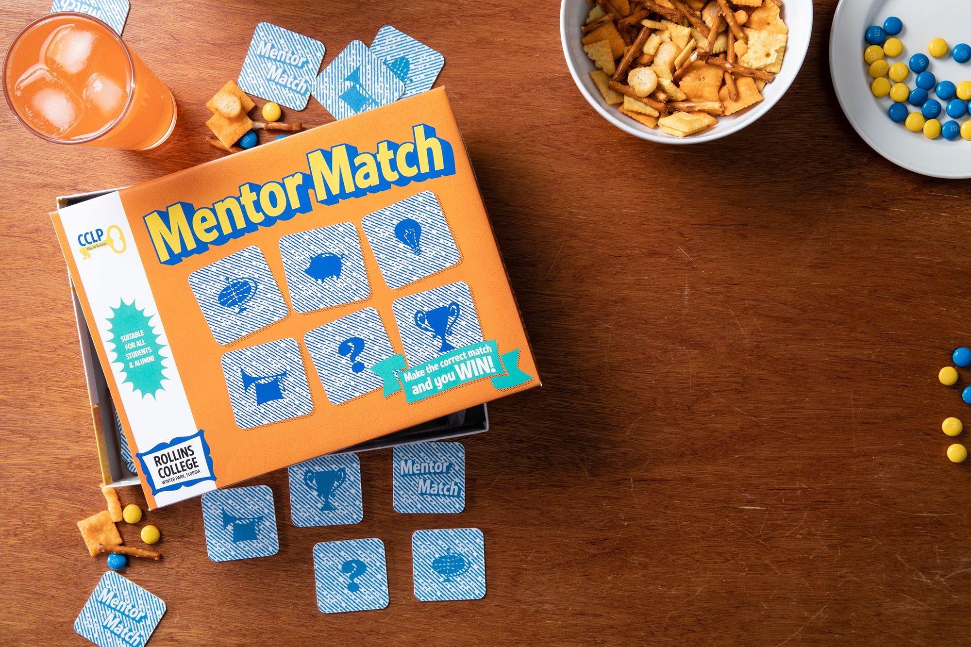 """A """"Mentor Match"""" board game to illustrate Rollins' Career Champions mentorship program, which is creating powerful partnerships between students and alumni."""
