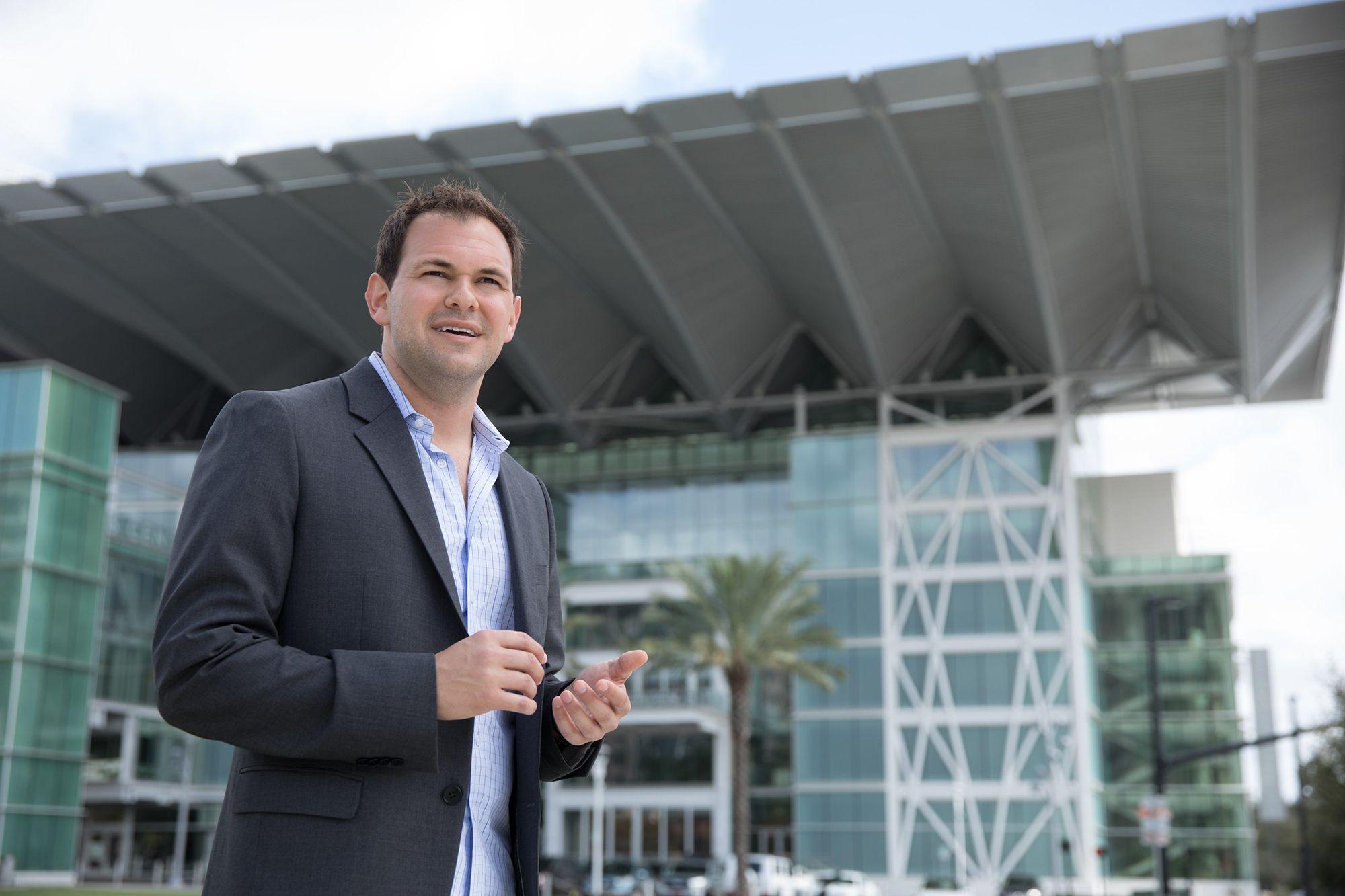 Entrepreneur Adam Schwartz '10 '12MBA in downtown Orlando.