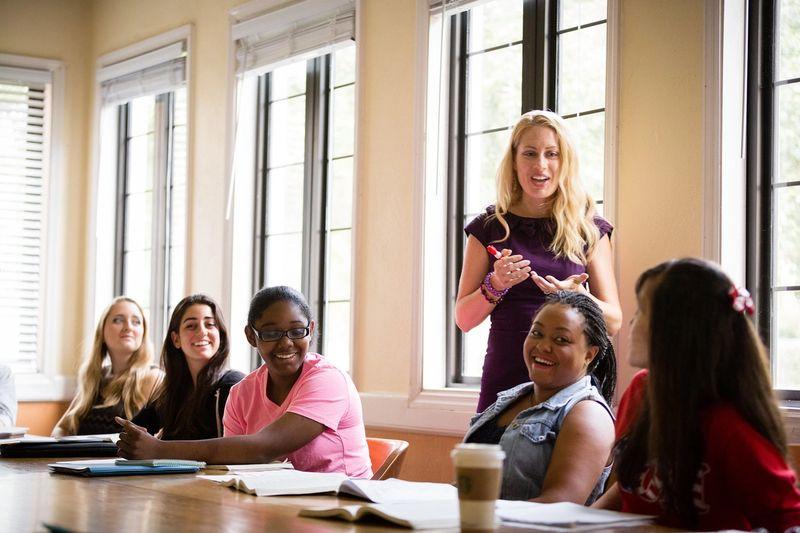 English professor Jana Mathews in a classroom with students.
