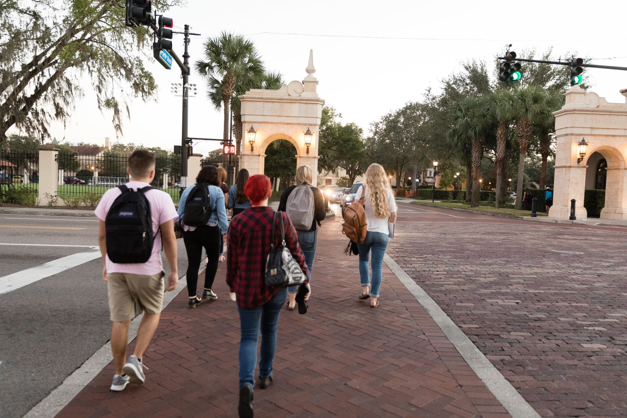 Students walk back to Rollins from Park Avenue, which is just steps from campus.