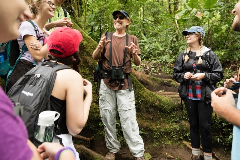 Dr. Allen leading a discussion with students in the Costa Rica rainforest.