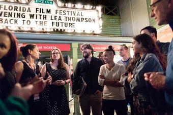 Critical media students at a film festival.