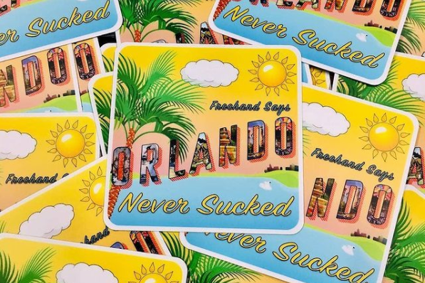 Drink holder that says Orlando Never Sucked