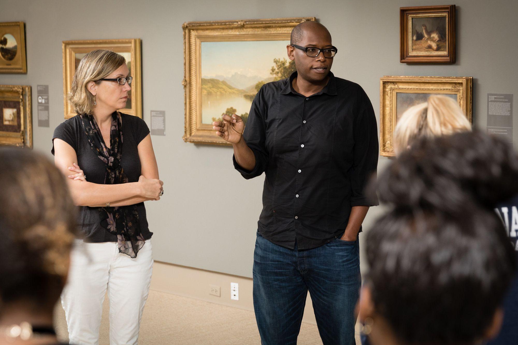 History professor Julian Chambliss and Ena Heller, director of the Cornell Fine Arts Museum.