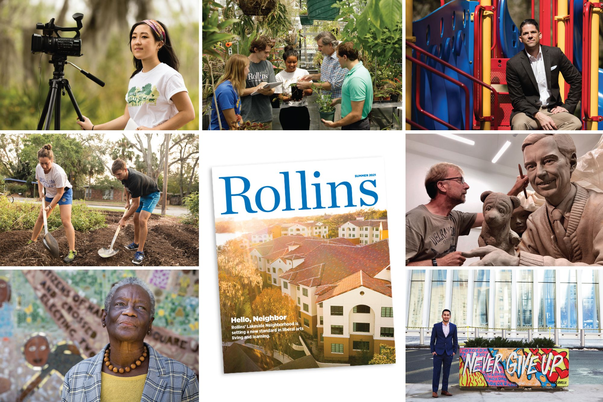 A grid of images from the summer 2021 issue of Rollins magazine, including the cover depicting Lakeside Neighborhood.
