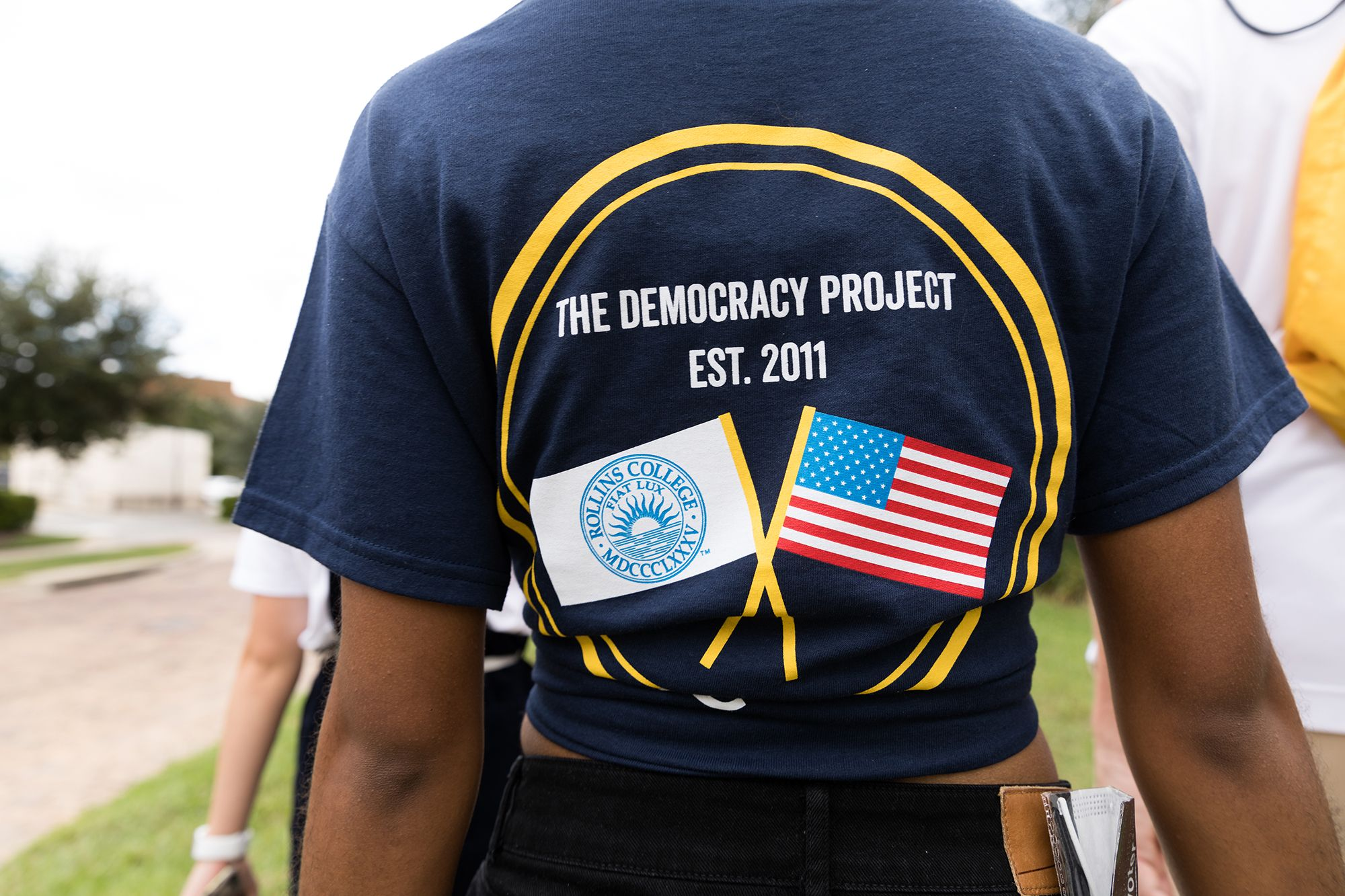 A student sporting a Democracy Project T-shirt on a walk to the polls to vote in the 2020 presidential election.