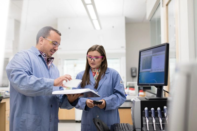 A student and professor collaborate in a chemistry lab.