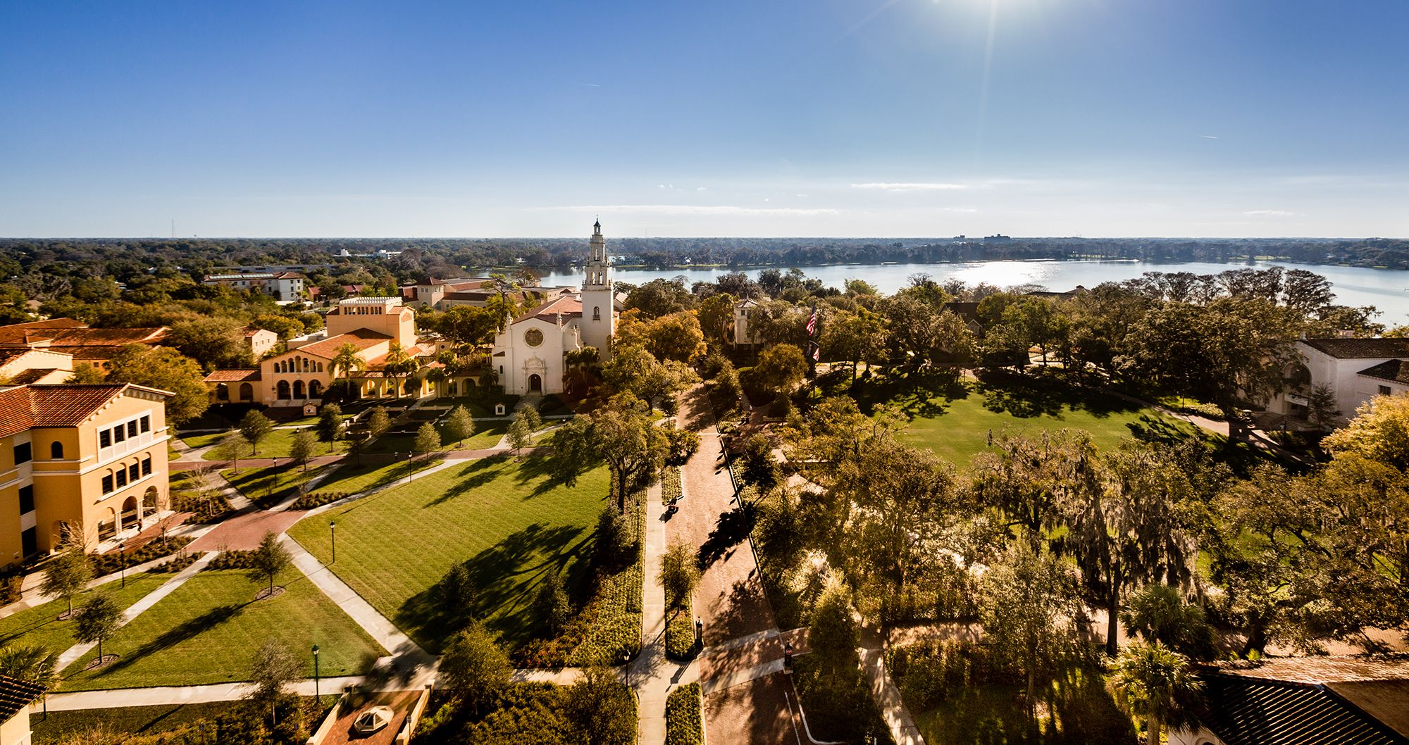 An aerial view of Rollins College.