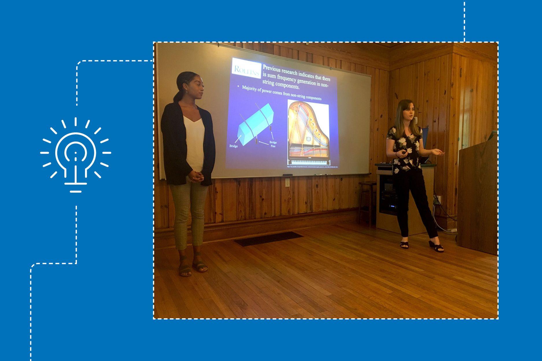 Lauren Neldner presents research in a Rollins classroom.