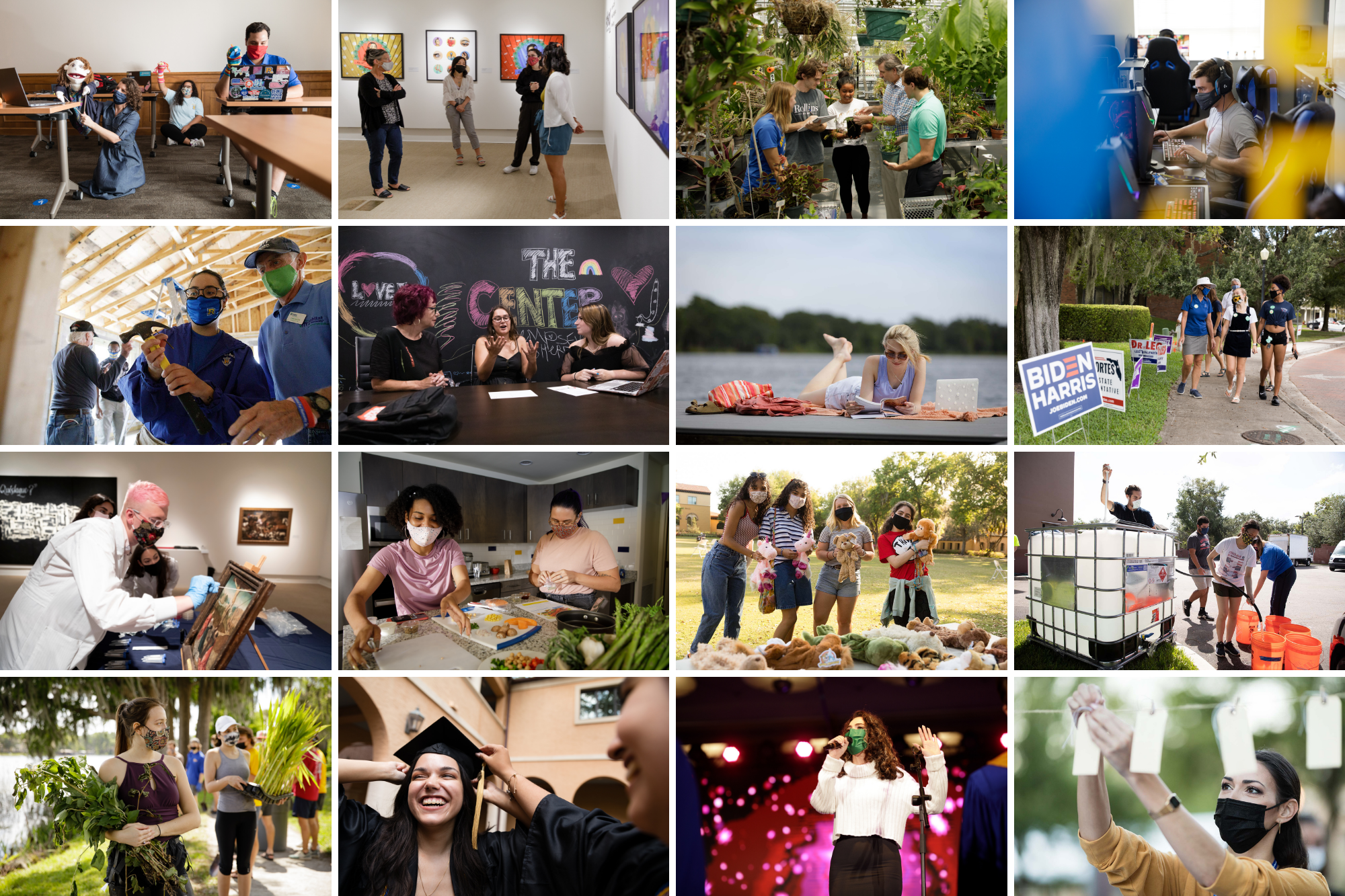 A grid of photos taken throughout the year showing the range of activities and courses Rollins offered in 2021.