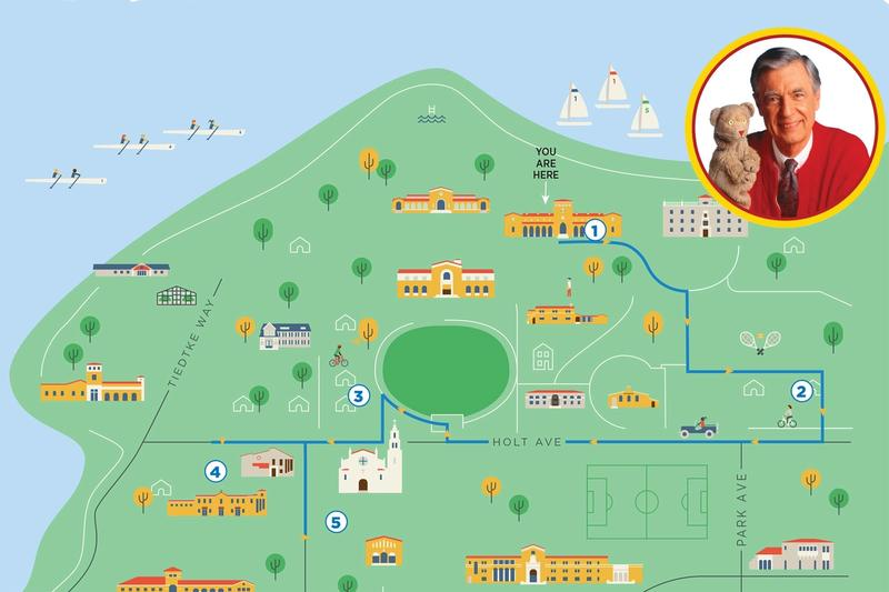 A map of the Misters Rogers walking tour at Rollins College.
