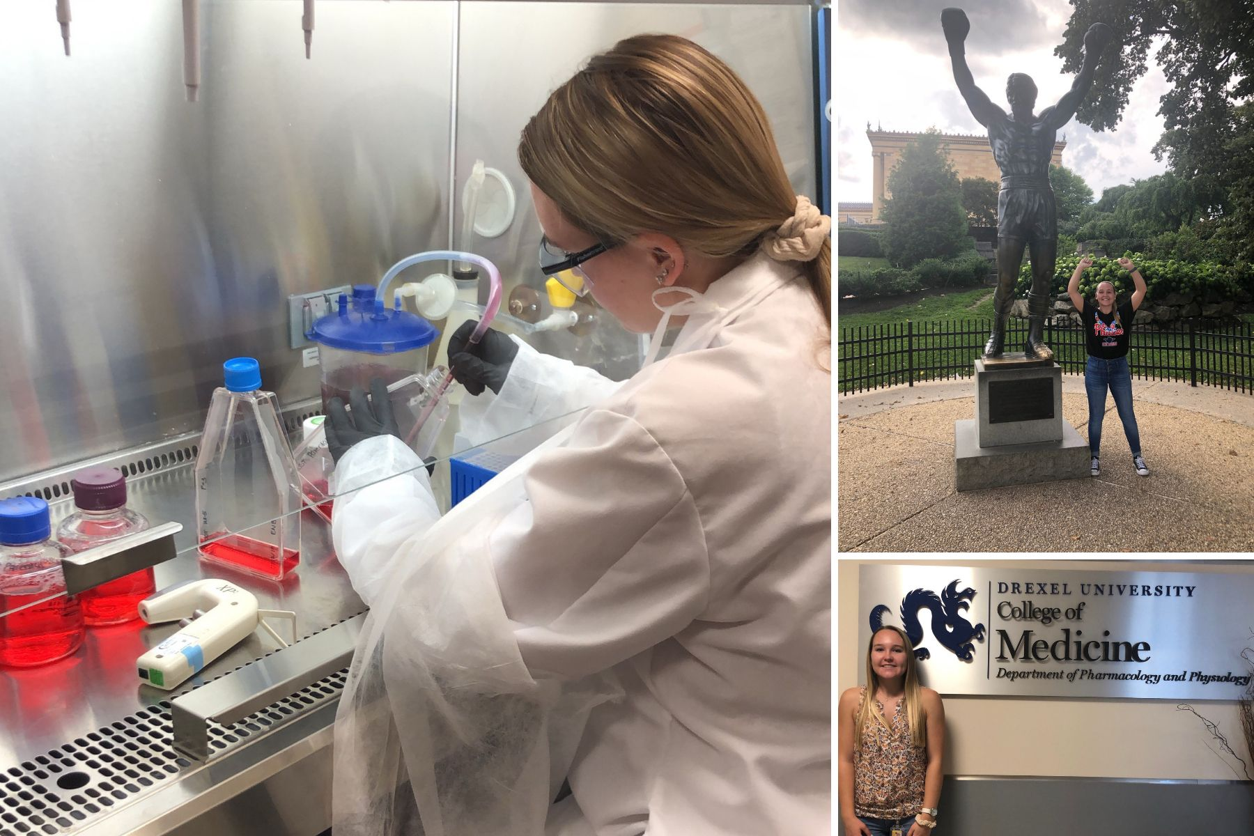 Kimmy Bonar '21 working in a lab during her internship at Drexel University in Philadelphia.