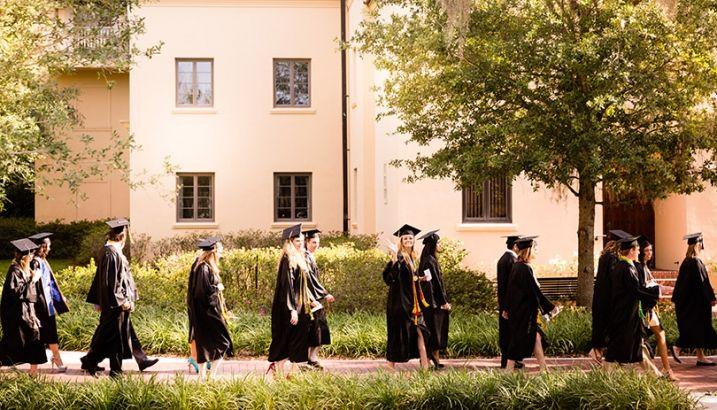 Students in commencement attire.