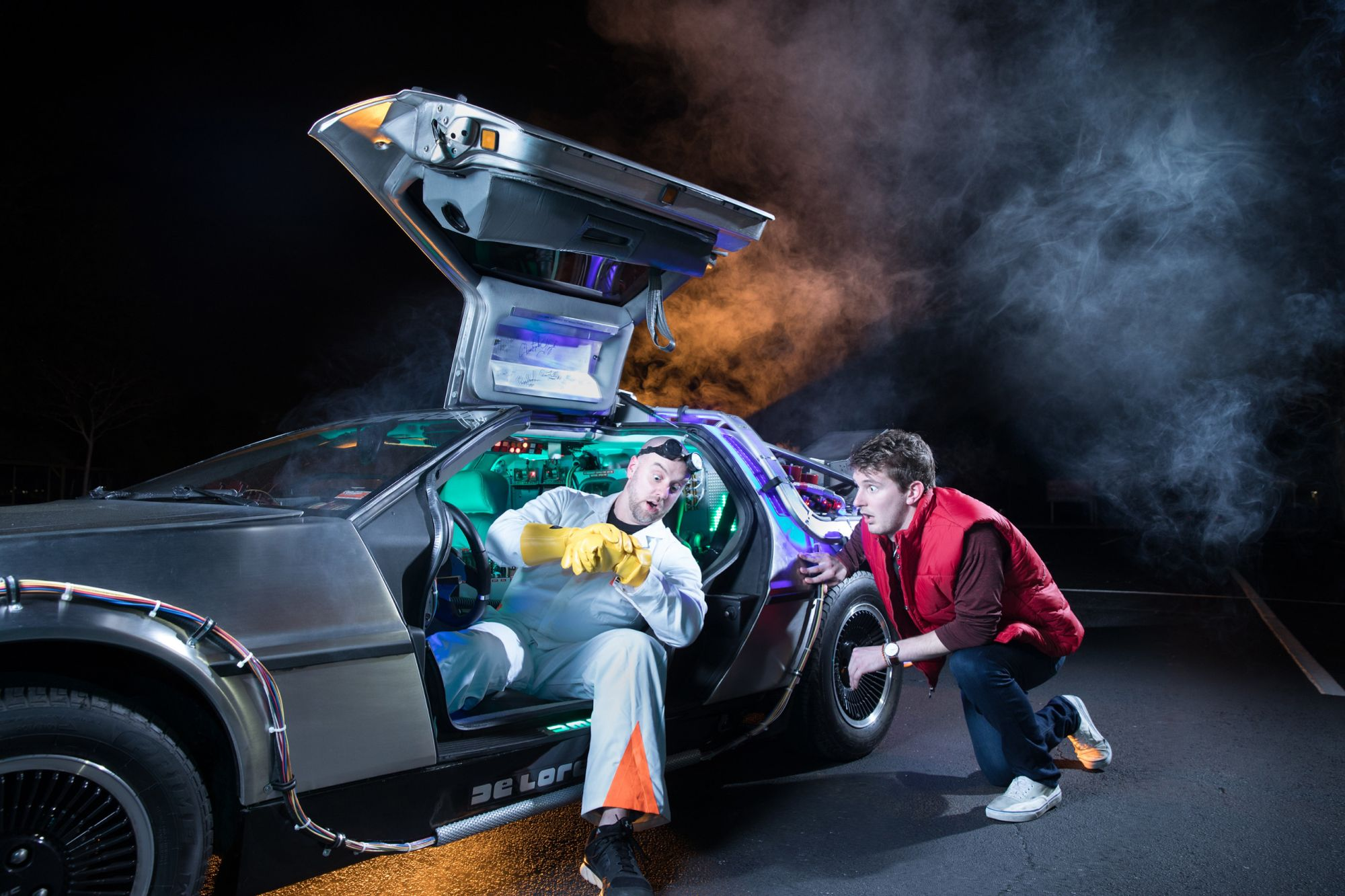 Dr Fuse and a student recreate a scene from Back to the Future.