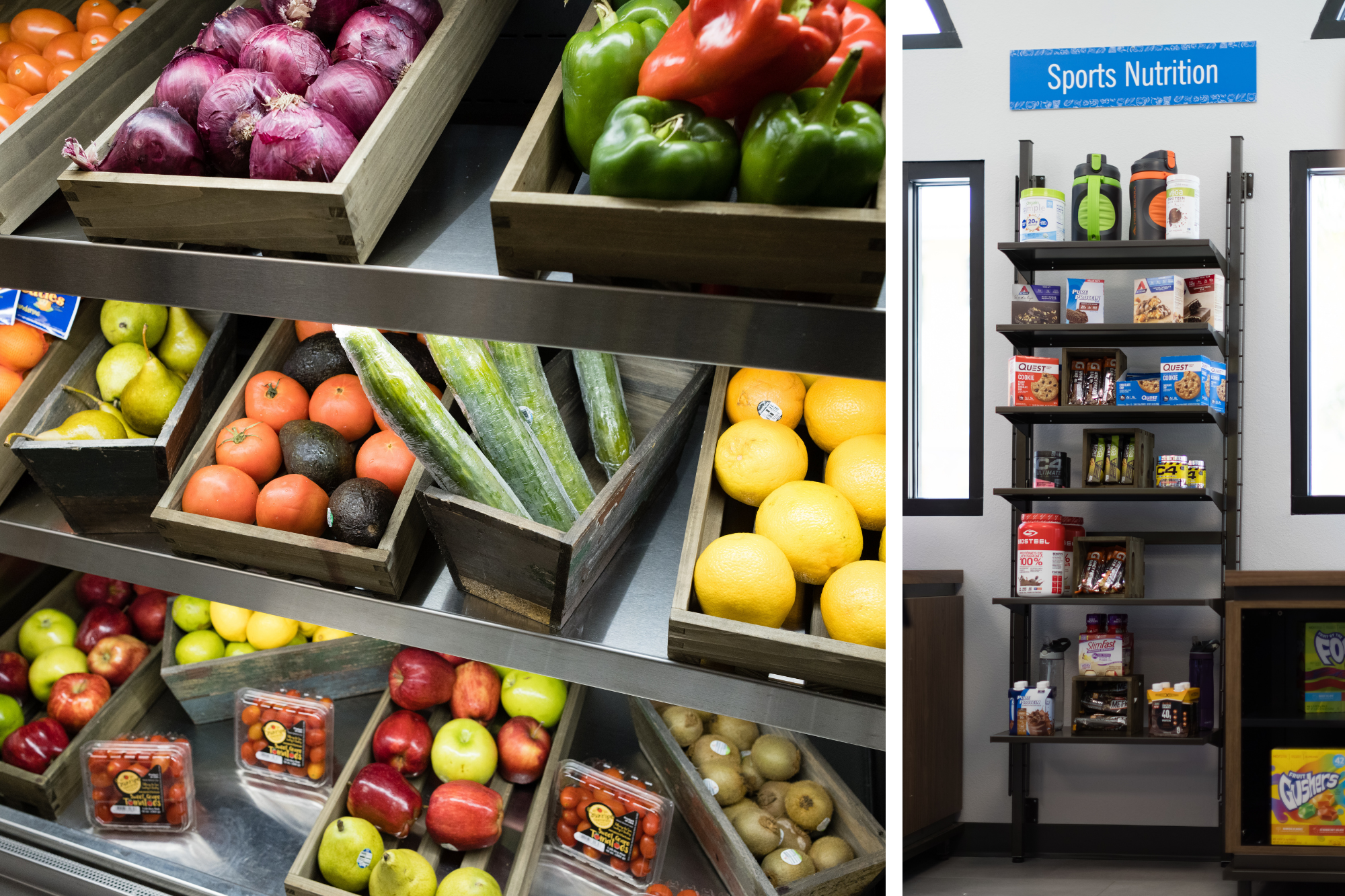 The Fox Lodge's produce and sports nutrition sections