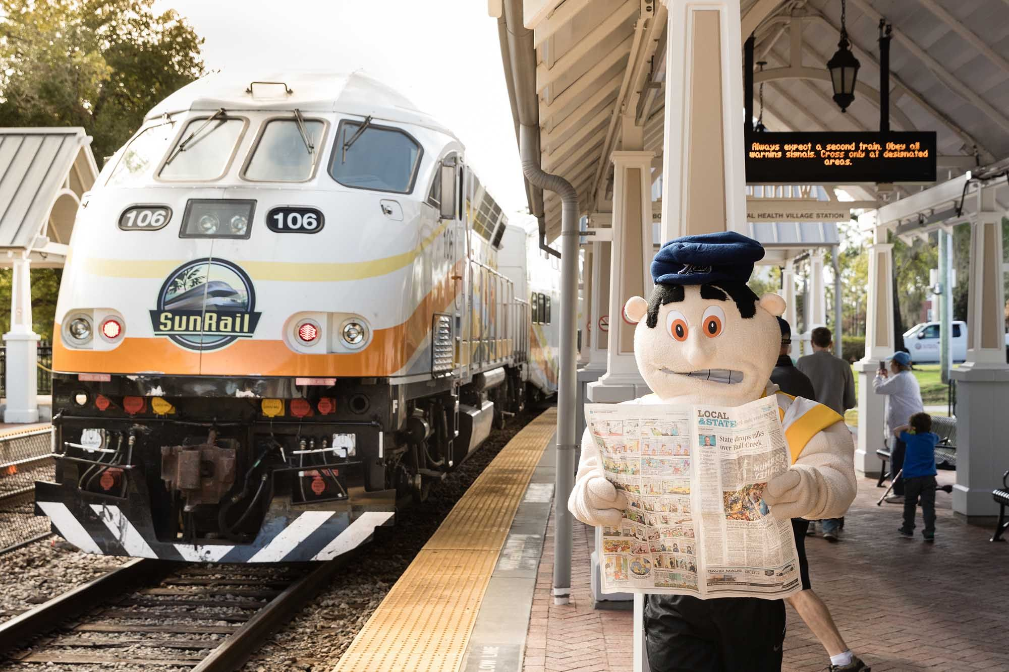 Tommy Tar waits for a SunRail train to arrive.
