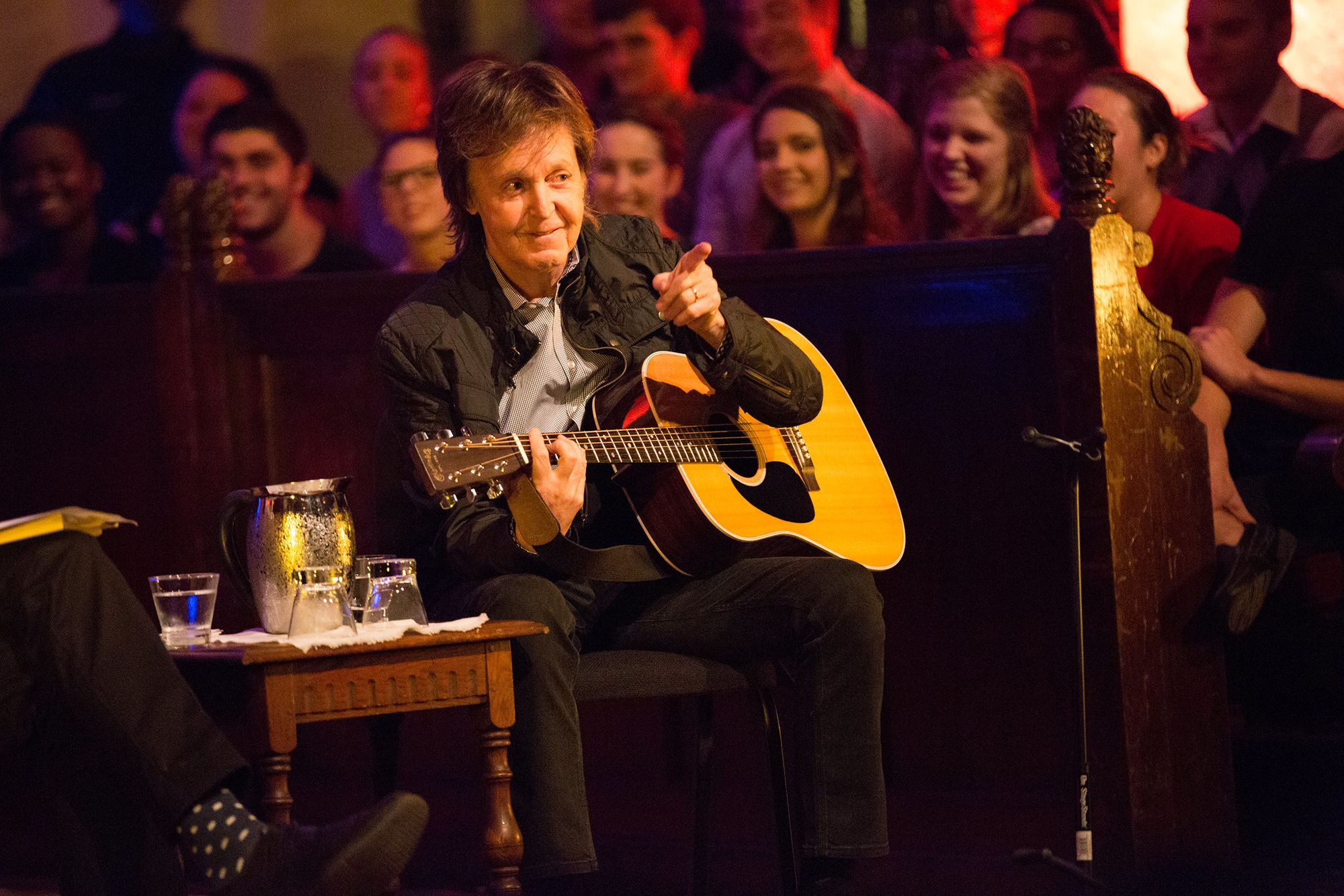 Sir Paul McCartney points to the crowd during a performance at Rollins College.