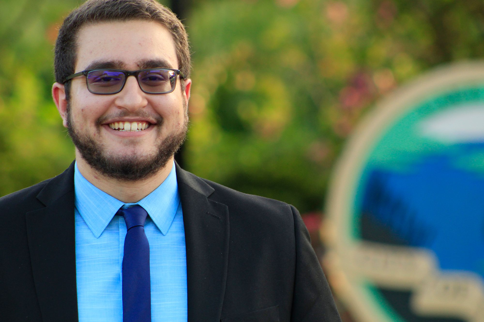 Omar Sadek '19 pictured in Lake Mary, a suburb of Orlando where he ran for city commission.