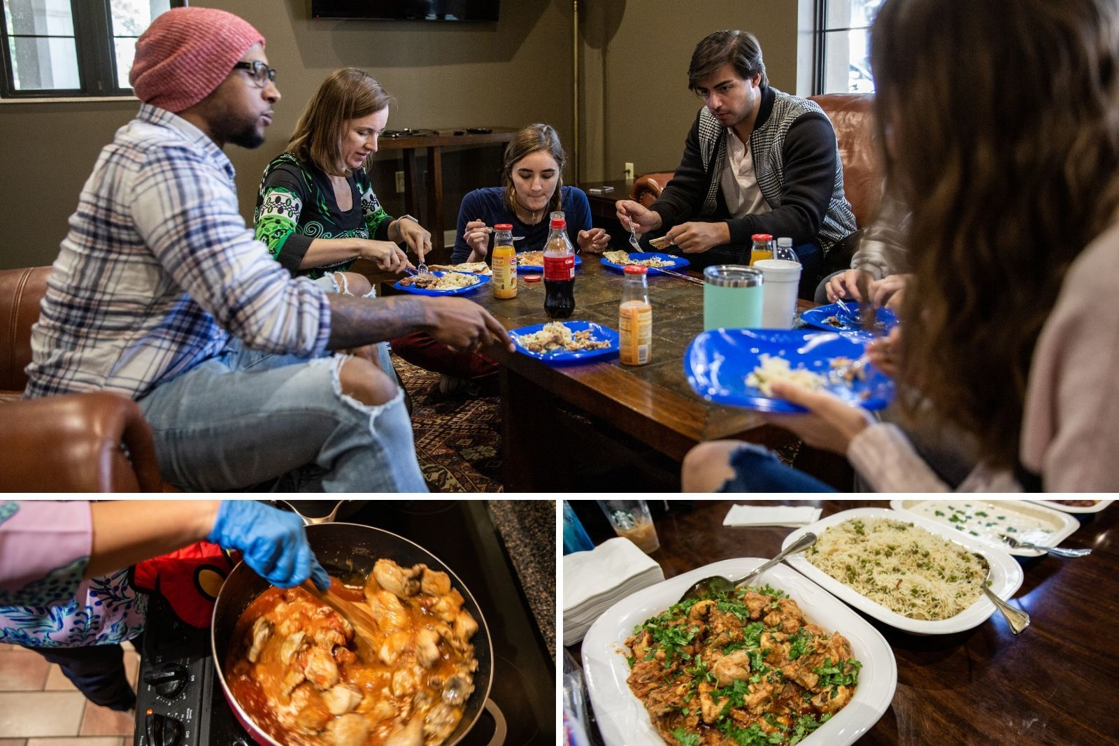 A collage of pictures from a Pakistani cooking demonstration - one of many that took place during the course.