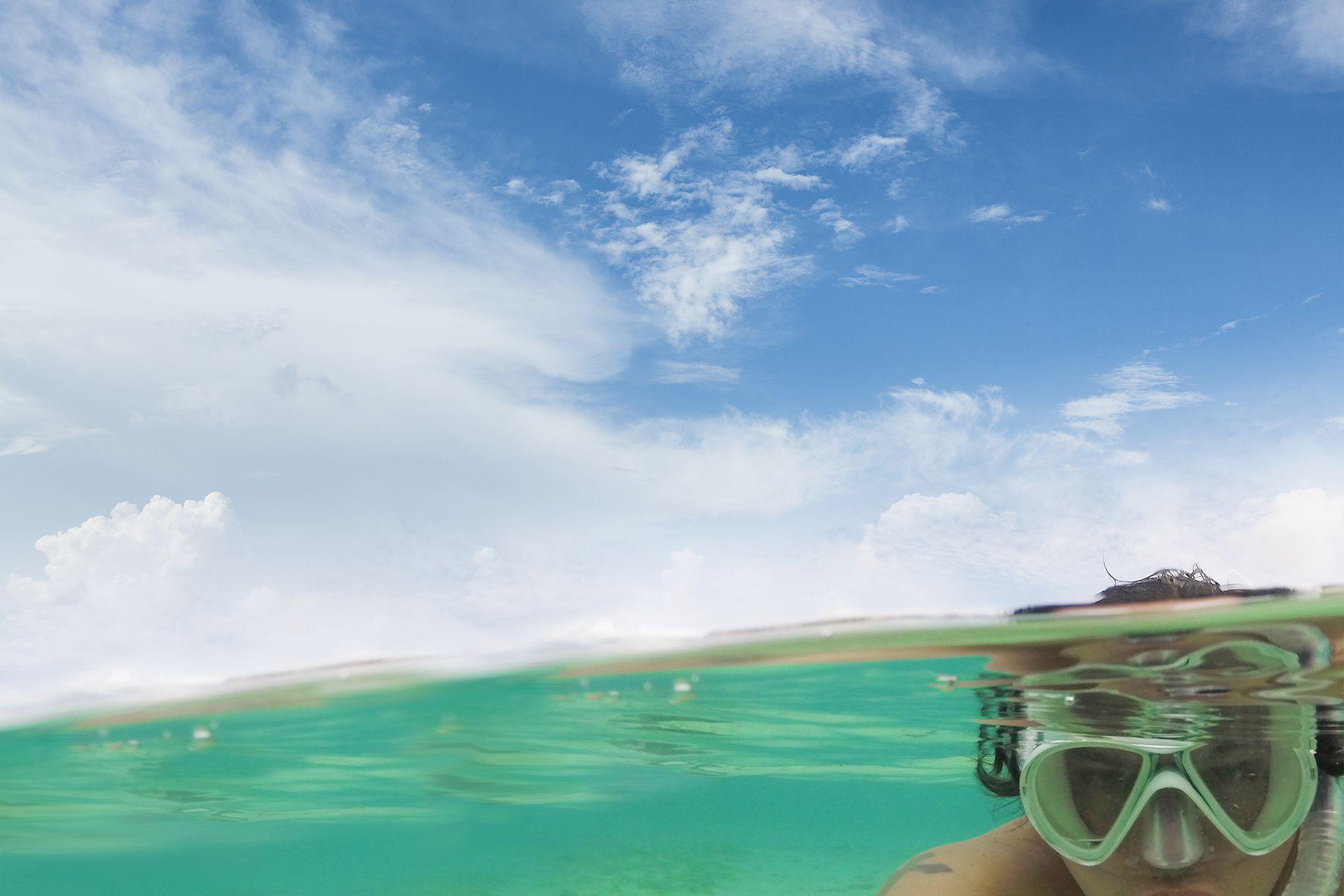Angelo Villagomez '04 snorkeling.