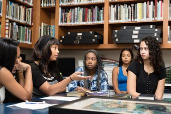 Students discuss African American art and history at Rollins' Cornell Fine Arts Museum.
