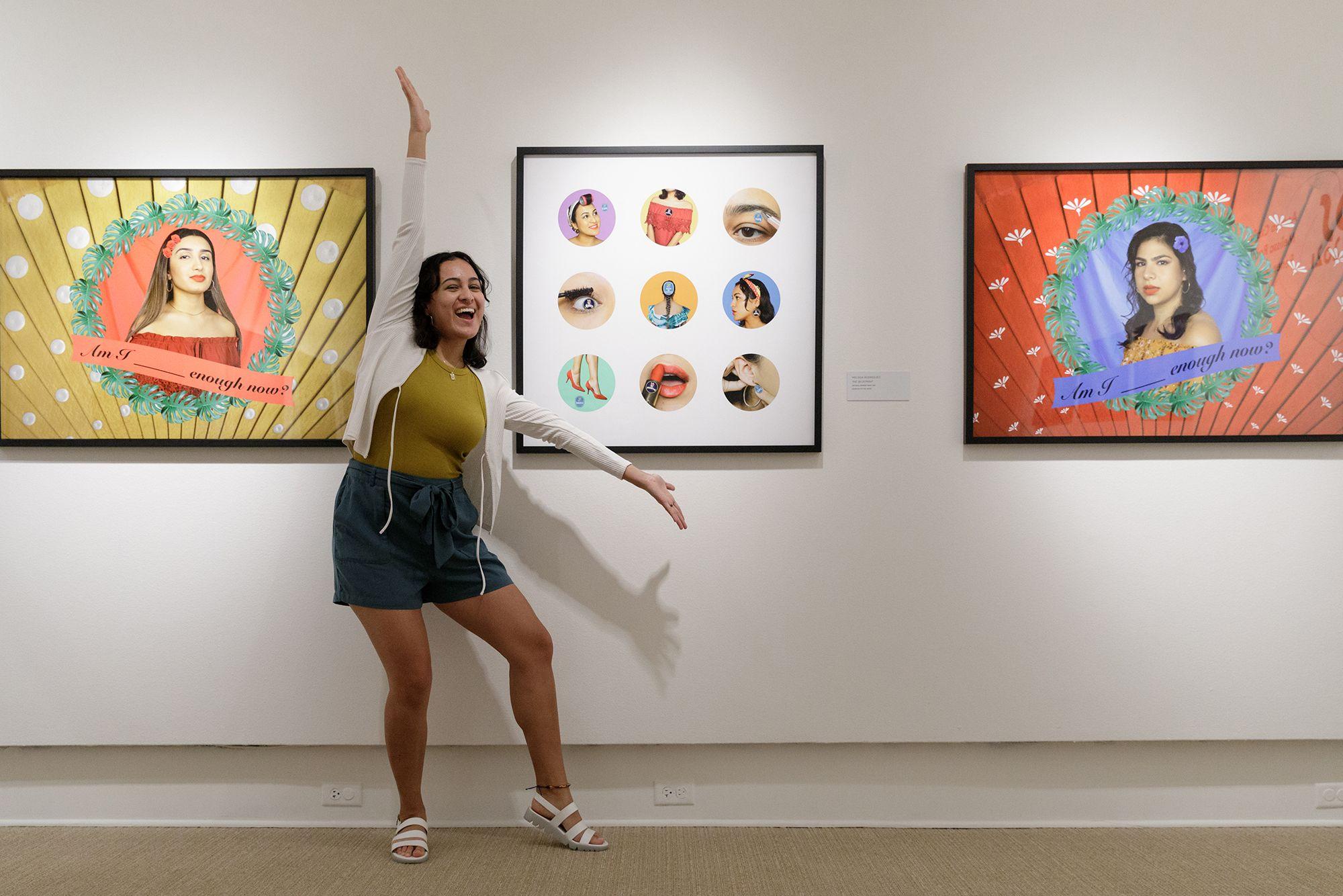 Studio art major Melissa Rodriguez '21 pictured with her original artwork at Rollins' Cornell Fine Arts Museum.
