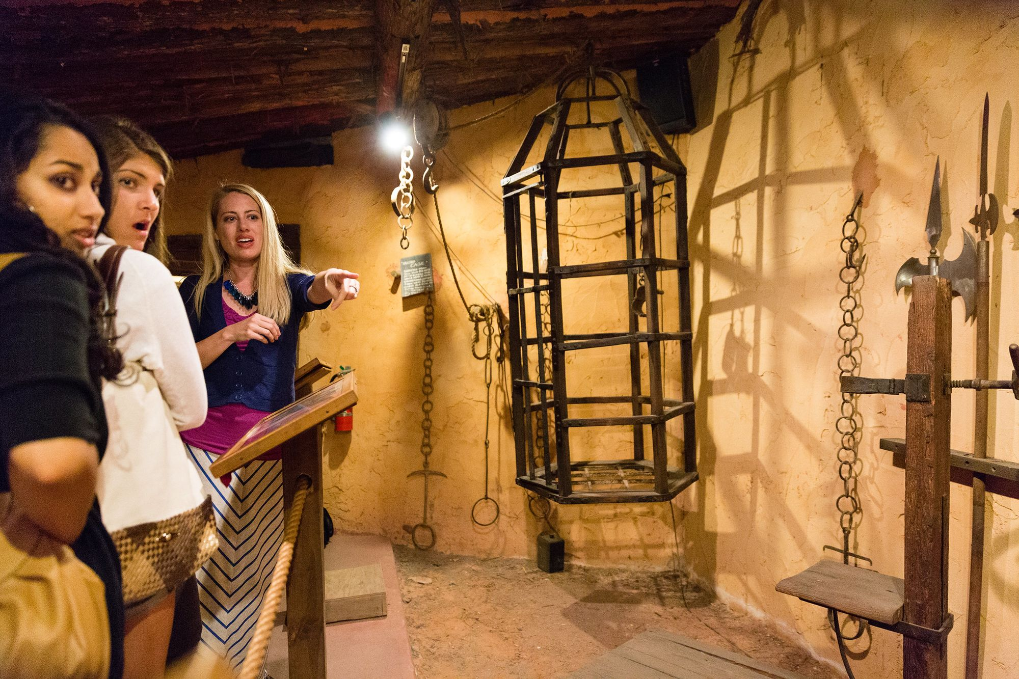A professor and a group of students explore Medieval Times during a class trip.