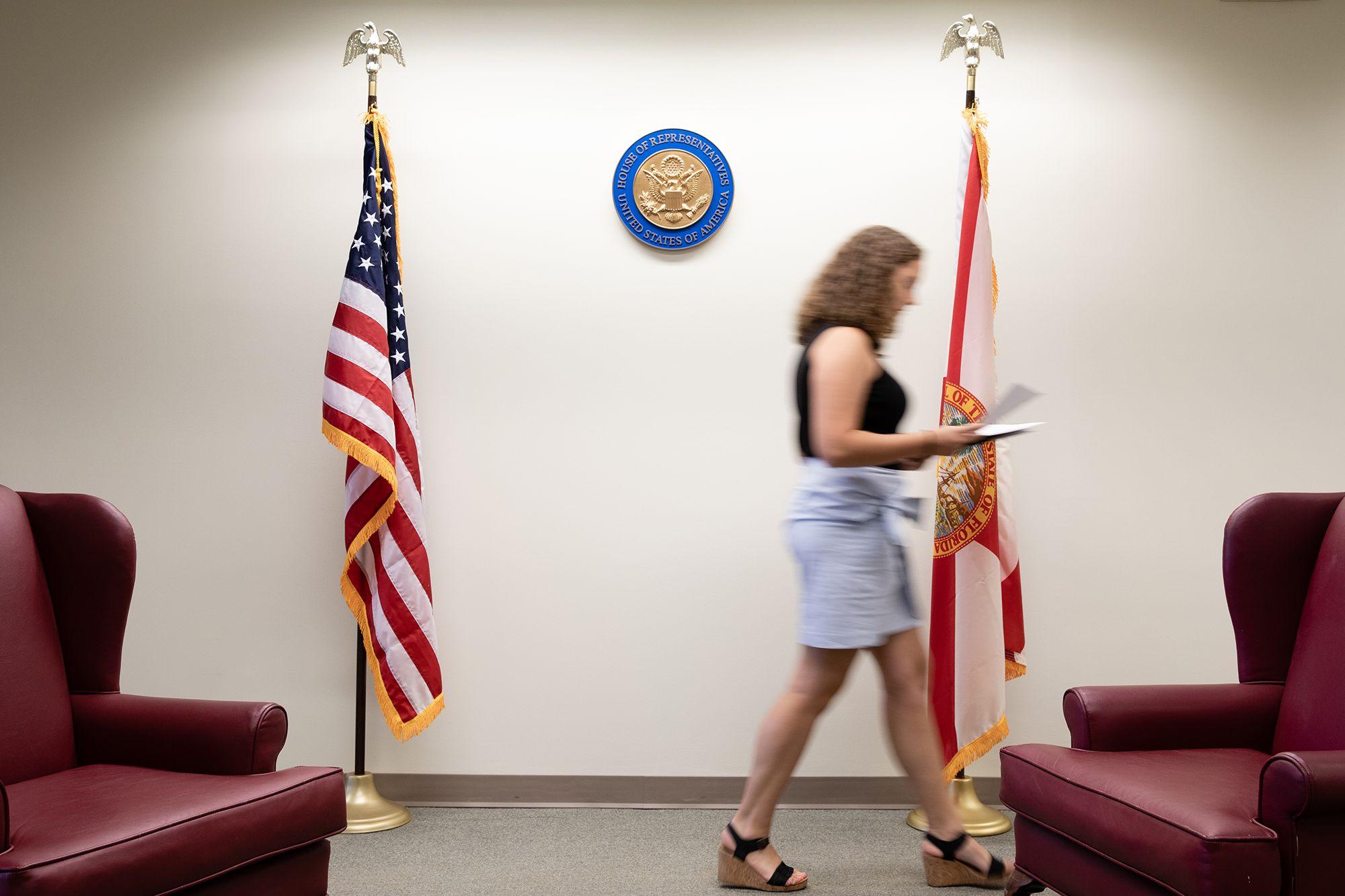 Ellie Heller walking the halls of the office of Congresswoman Stephanie Murphy, the site of her summer internship.